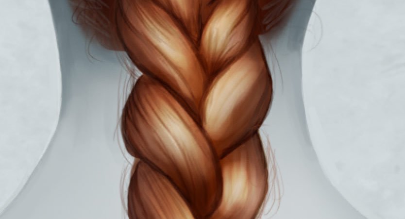 Drawn braid coloring hair Drawing in and Photoshop: in