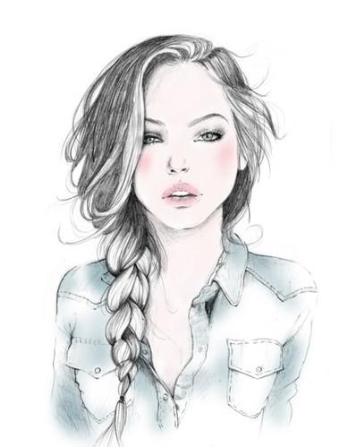 Drawn braid different Art i beauty art color