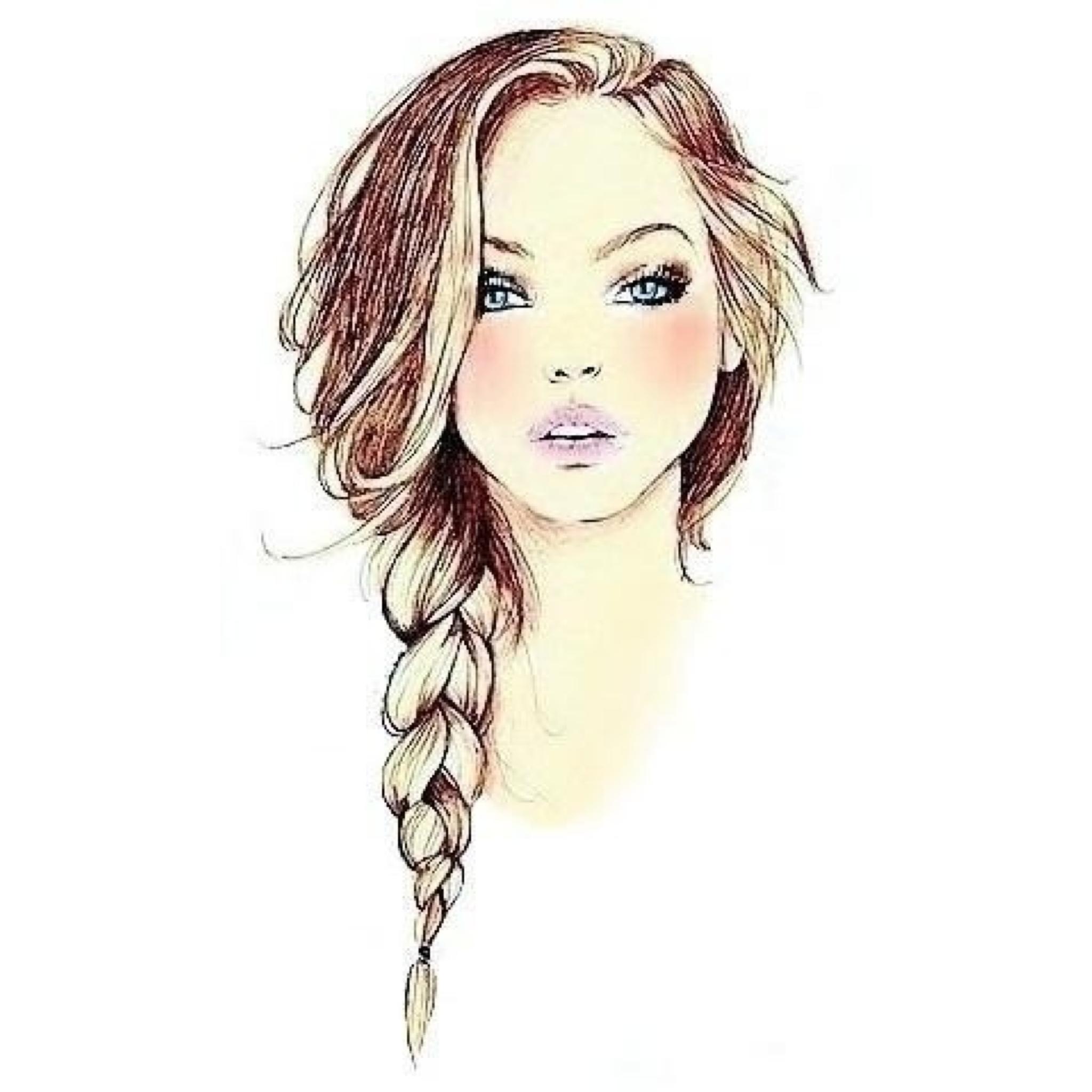 Drawn braid female hair A of Hair #drawing #braid