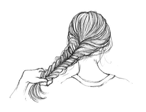 Drawn braid fishtail braid Securing with your end Repeat
