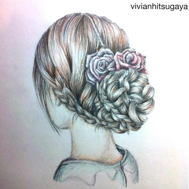 Drawn braid hair plait Braid  how hair drawing
