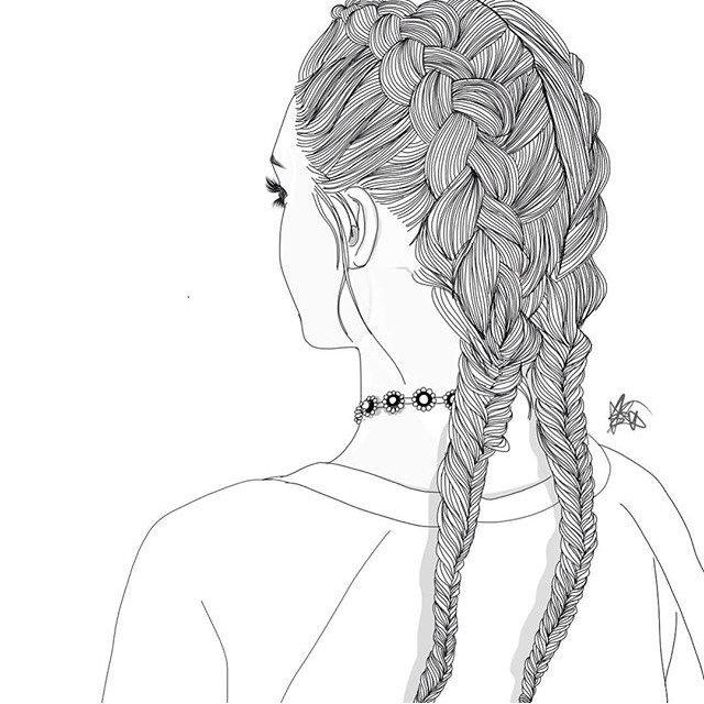 Drawn braid hipster  drawing braids outlines braids
