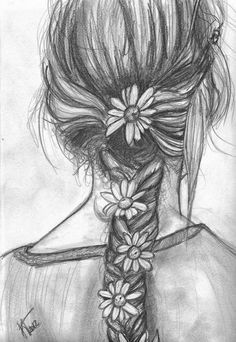 Drawn braid hipster Messy realism drawing teen sketch!