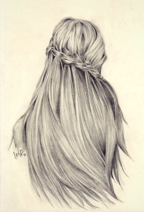 Drawn braid pencil drawing Drawing hair pencil pretty love
