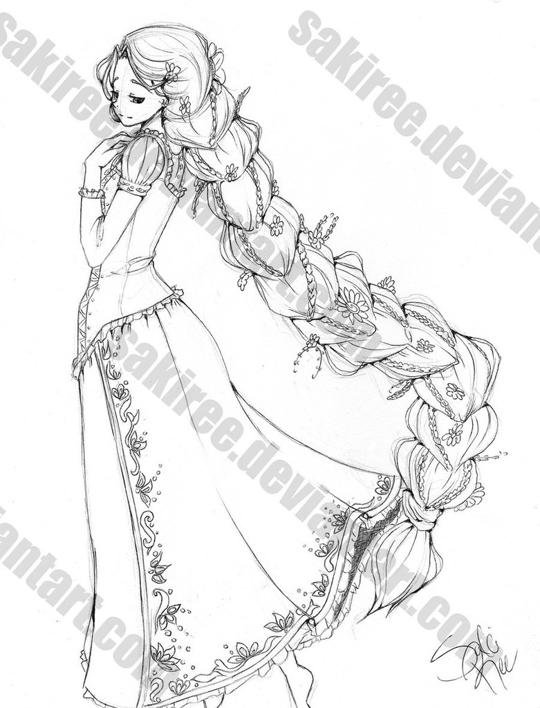 Drawn braid rapunzel Sketch Rapunzel: by SakiRee on
