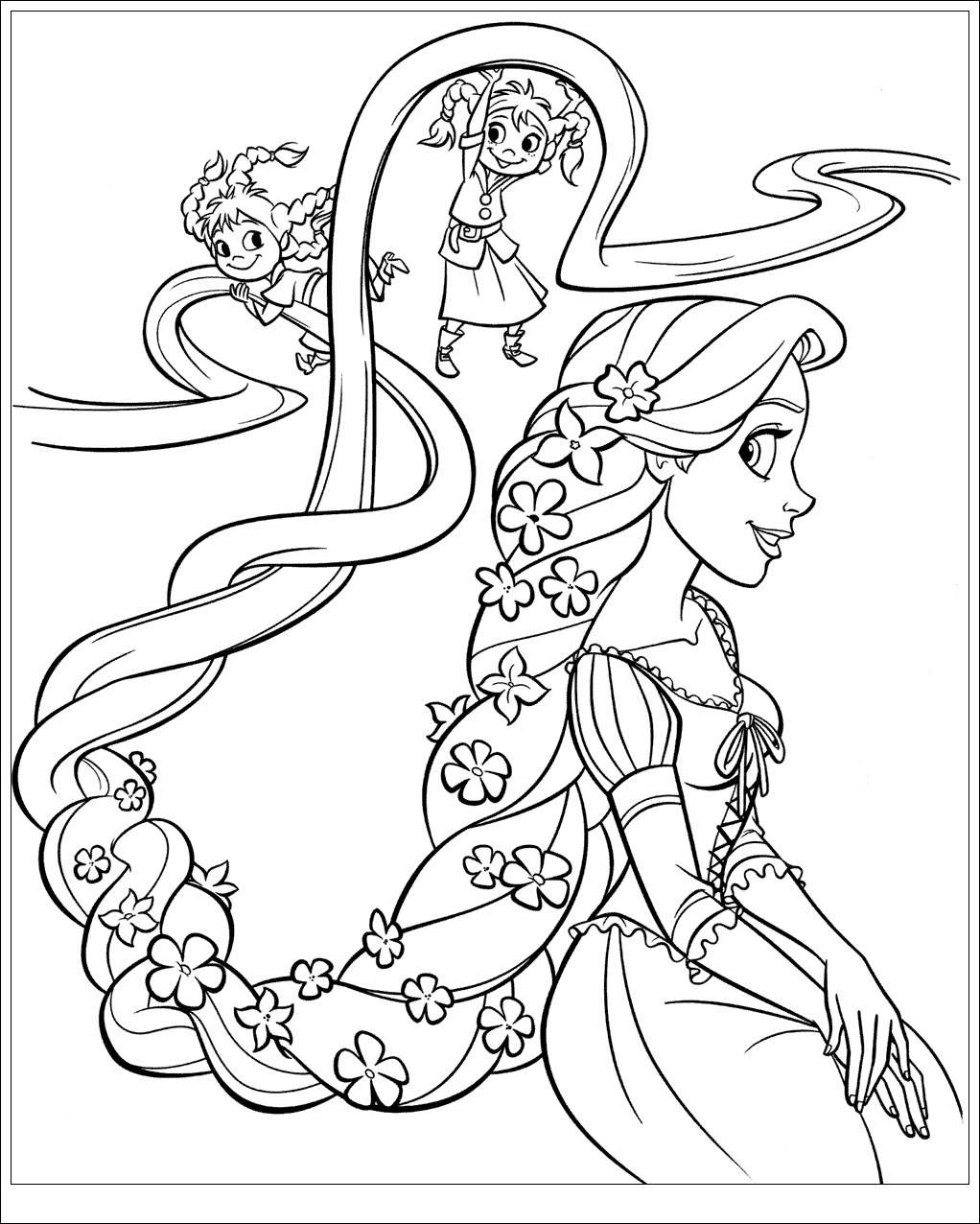Drawn braid rapunzel Kids : pretty Rapunzel coloriage