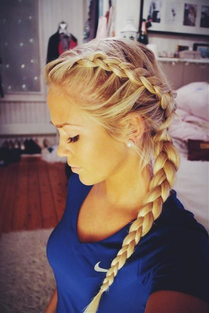 Drawn braid sporty Braid Dutch braids Volleyball ideas