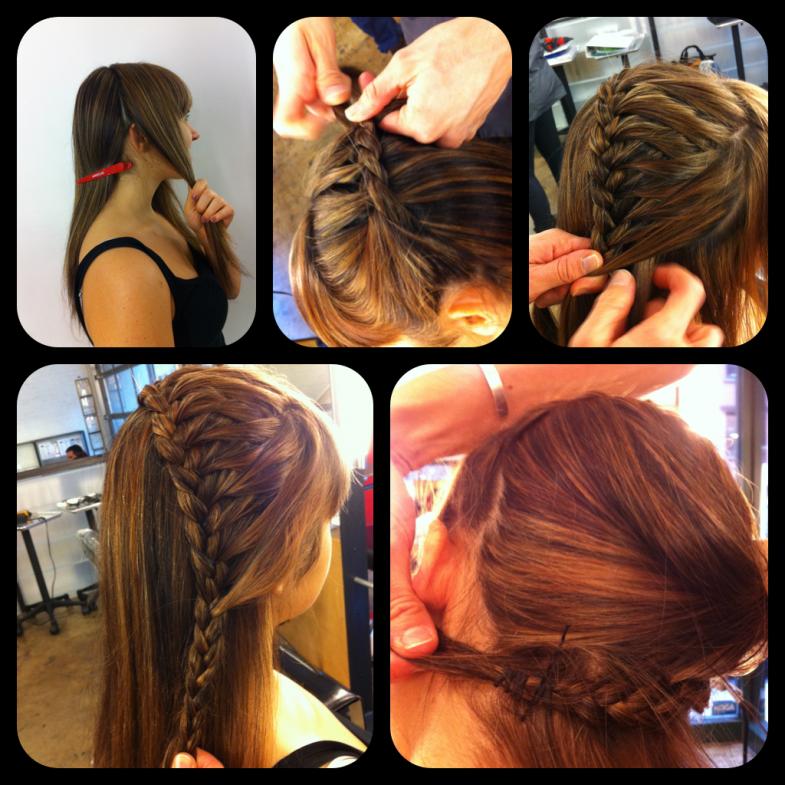 Drawn braid straight hair Hair: ear head the way