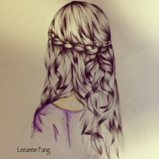 Drawn braid straight hair B&W drawings Search flowers with