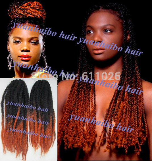 Drawn braid twist Marley toned hair  ombre