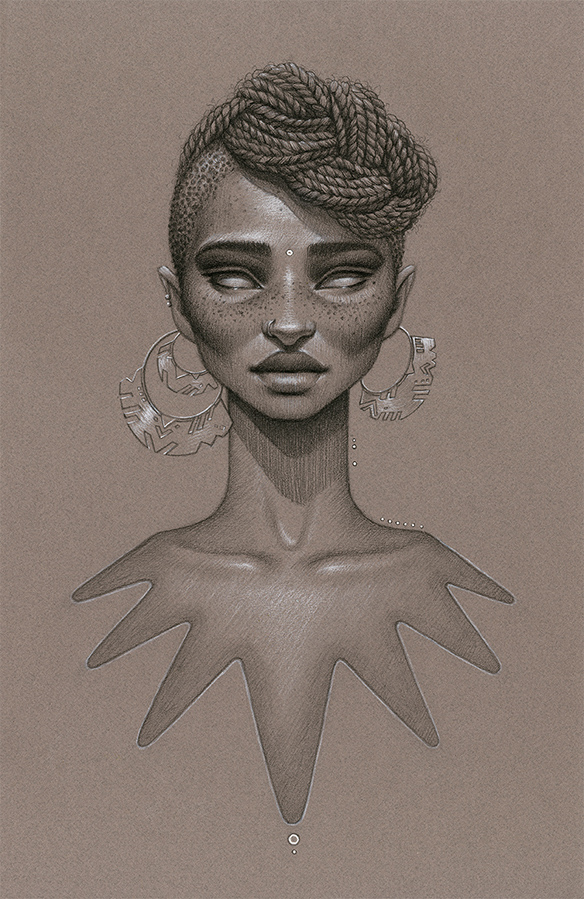 Drawn braid twist Artwork Afrofuturist  Moondust: