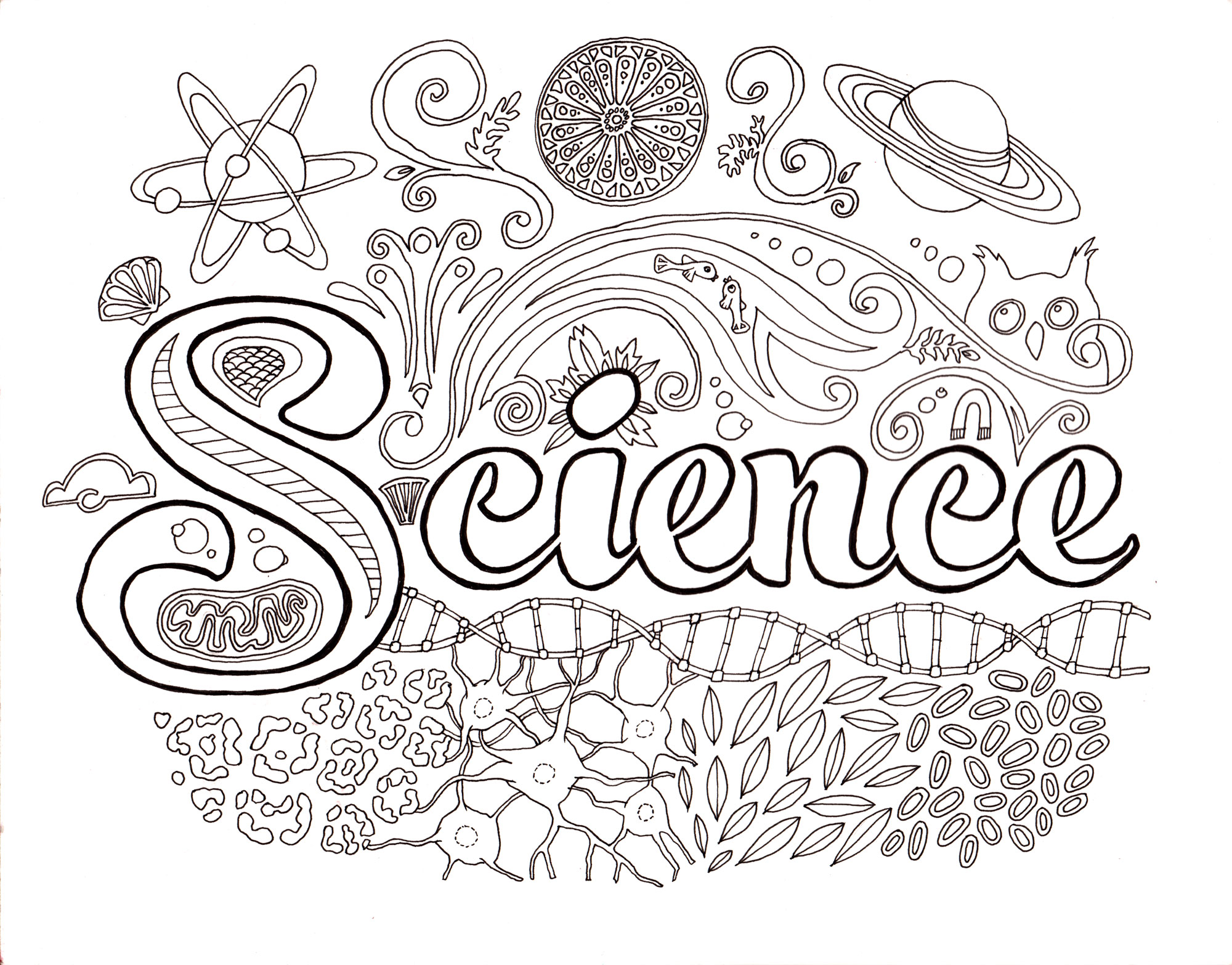 Drawn brain coloring page #5