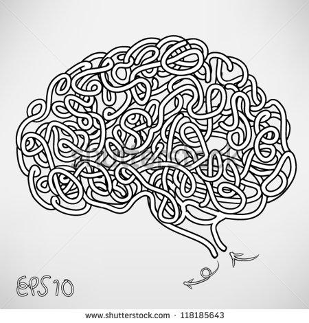 Drawn brains Vector brain thinking drawn stock
