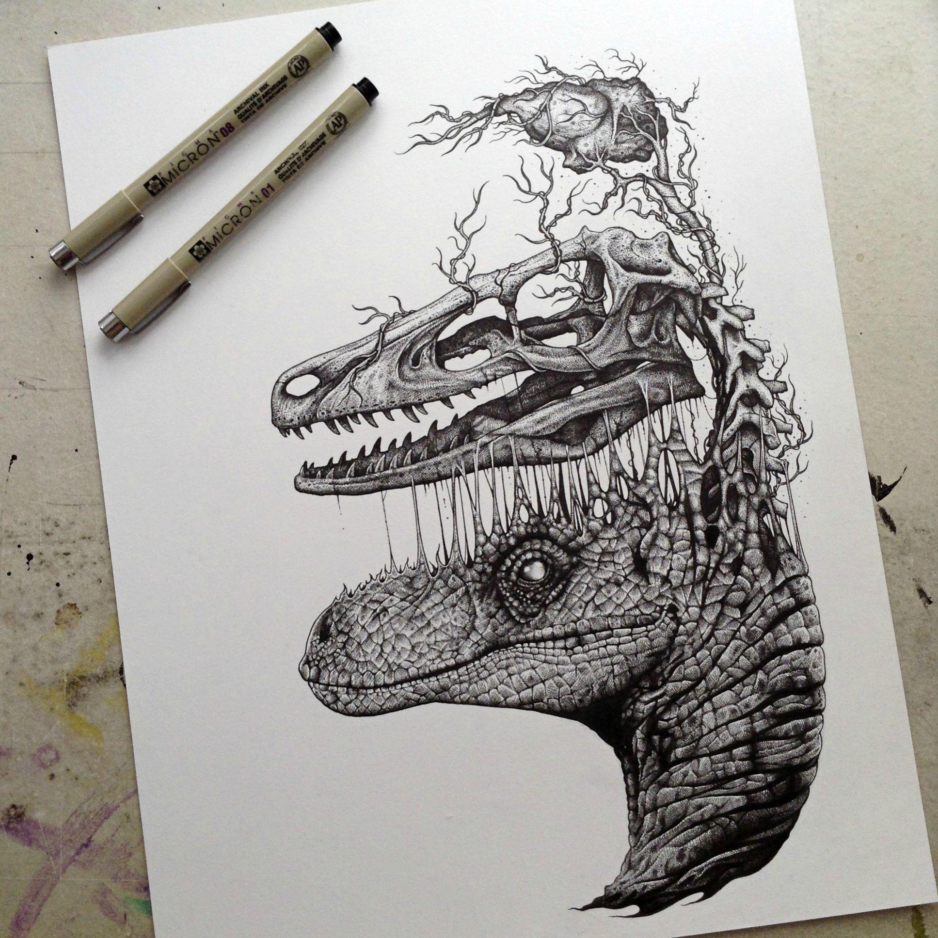 Drawn brain skull #3