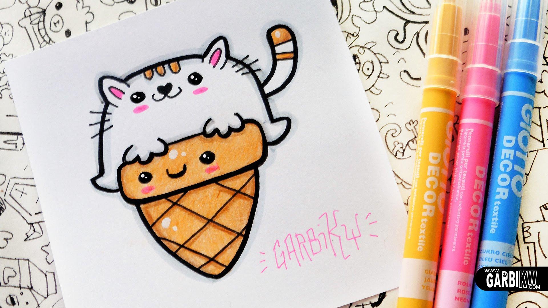 Drawn ice cream comic Kawaii Ice Garbi KW