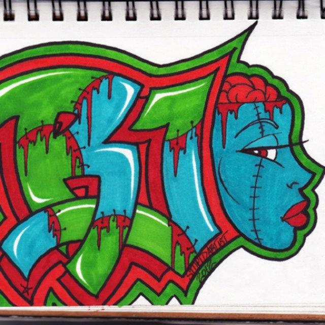 Drawn brains graffiti #tag #undead #tag  #undead