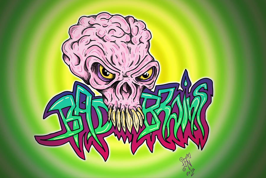 Drawn brains graffiti Nikolass skull nikolass BAD skull