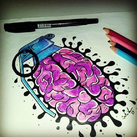 Drawn brains graffiti And (@vozzky) #artistic #me #apprentice