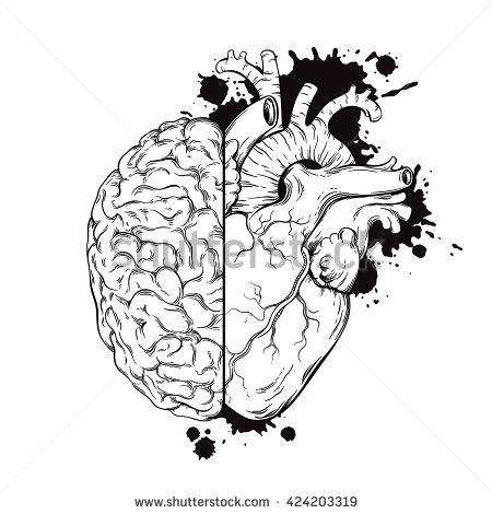 Drawn brains half Drawn  Grunge Hand line