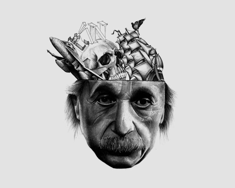 Drawn brain mad scientist Art Art Sci: Art Einstein