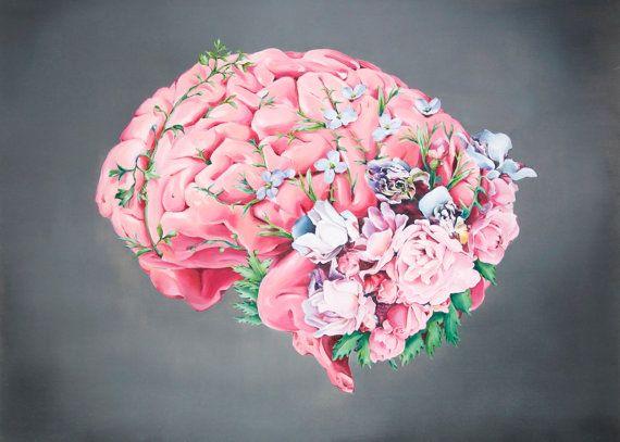 Drawn brains pink brain óleo floral: al art Impresión