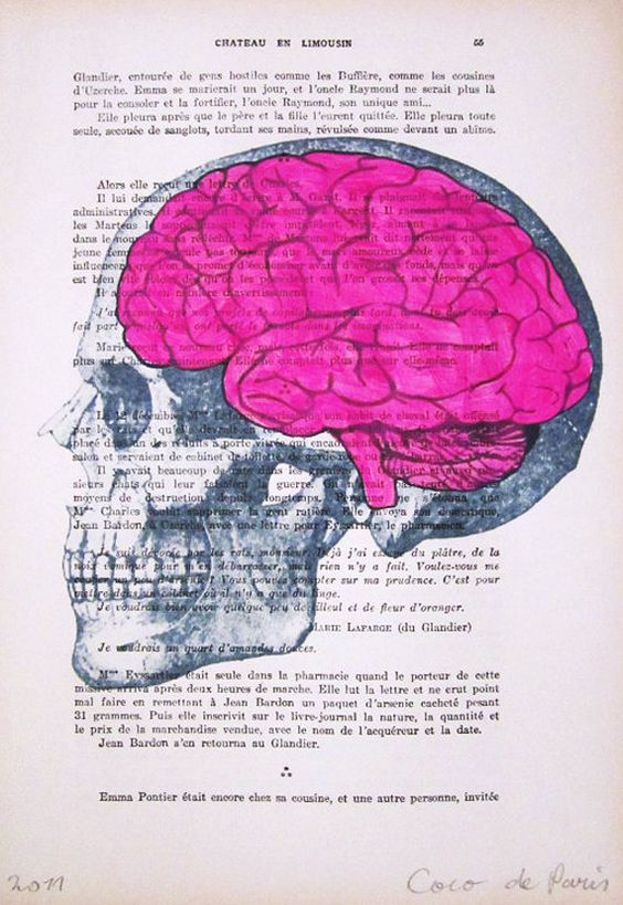 Drawn brains pink brain Mixed paintings Posters paintings Decor