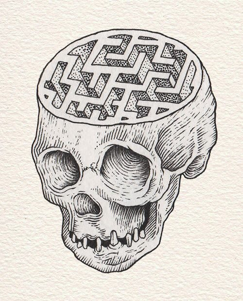 Drawn maze complicated Drawing skull drawing maze Pinterest
