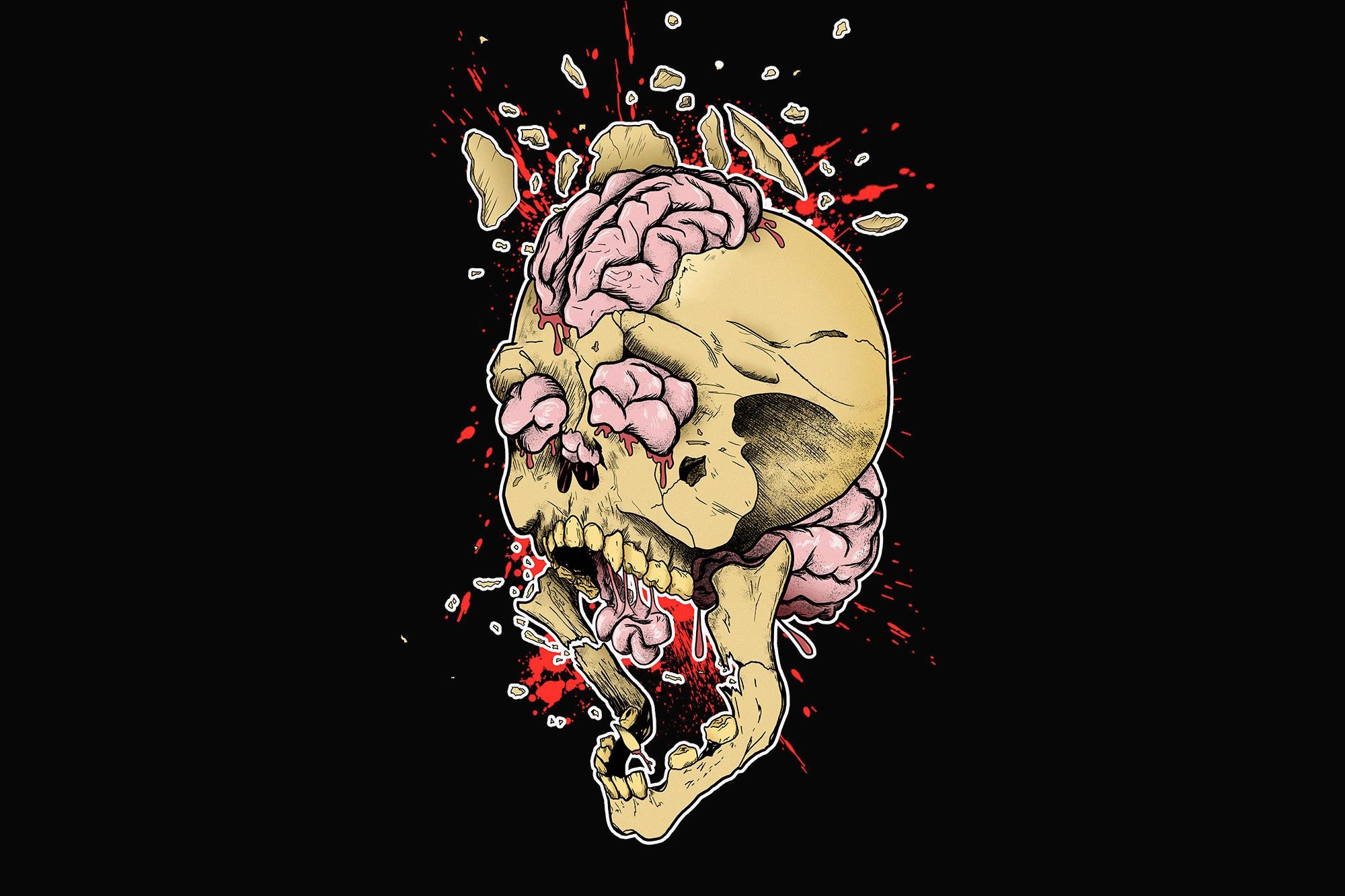 Drawn brains skull Images brain wallpapers teeth Skull
