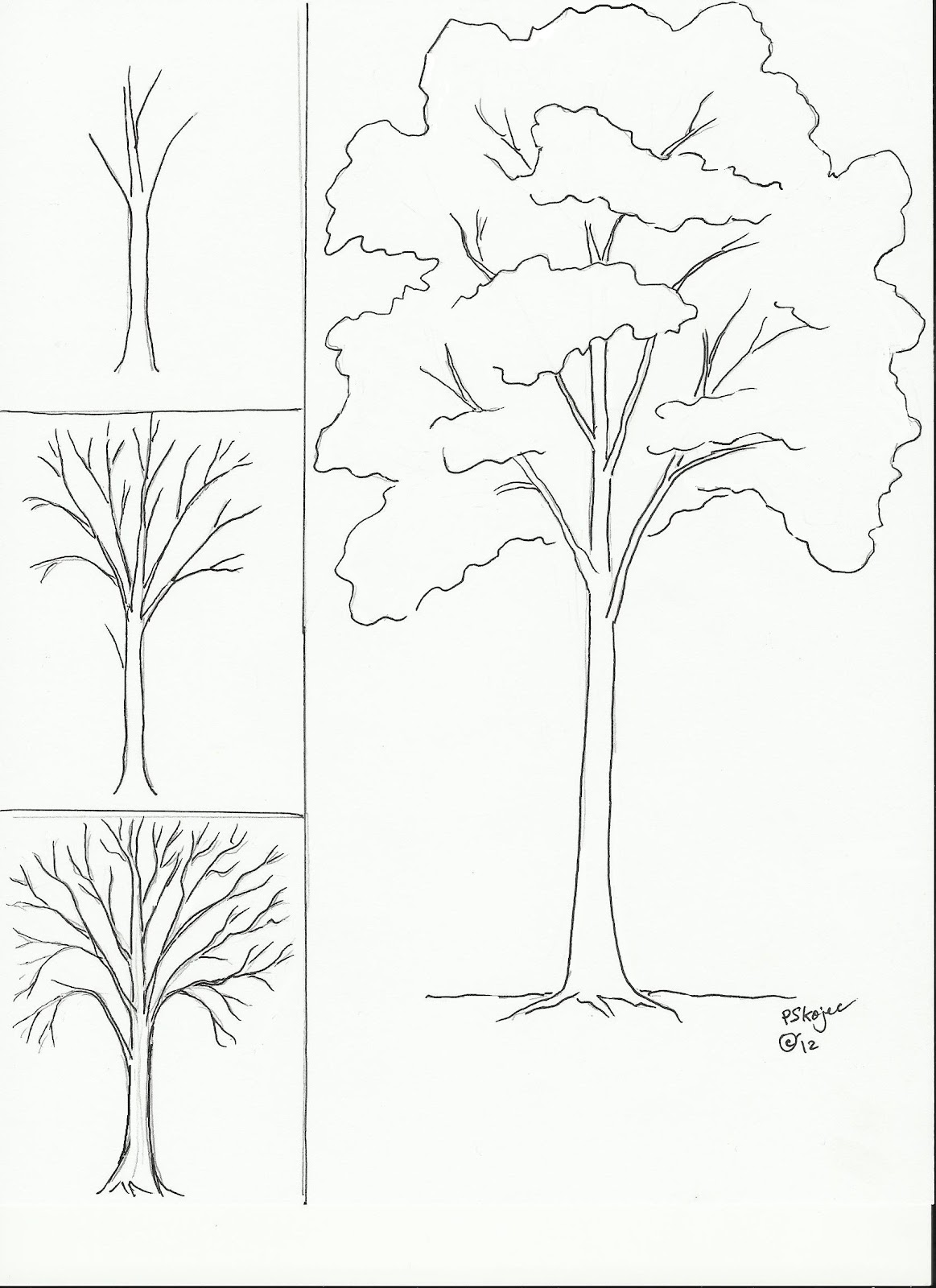 Drawn branch autumn tree #10
