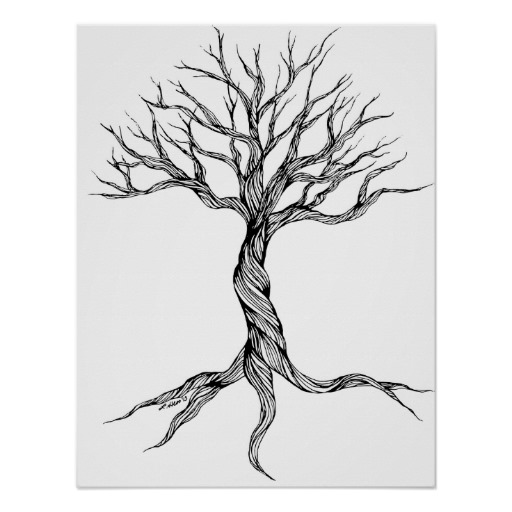 Drawn spirit twisted Print art Old Tree poster