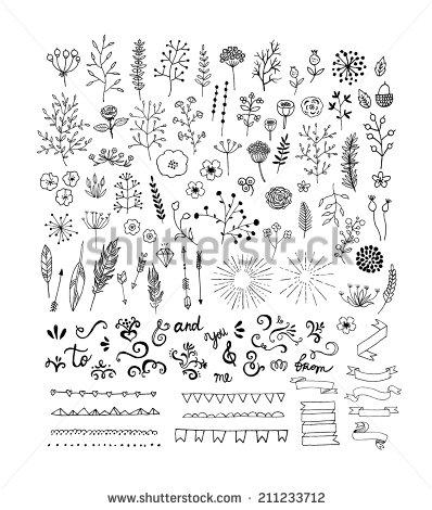 Drawn leaves pattern Floral frames vintage laurels frames