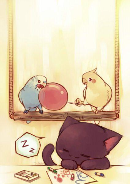Drawn brds cute pet Drawing those Cat ART Pinterest