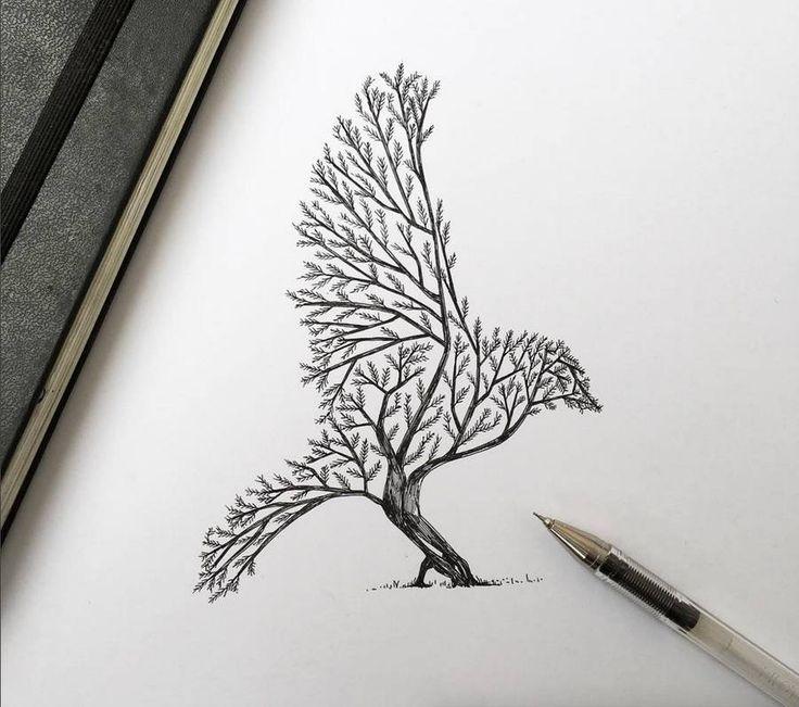 Drawn brds ink Of  Ink ideas Bird