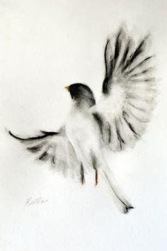 Drawn brds ink Bird Art by Pastel bird!