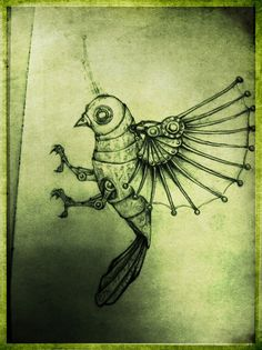 Drawn brds grunge Deviantart kimberlouise Yarost Bird Clockwork