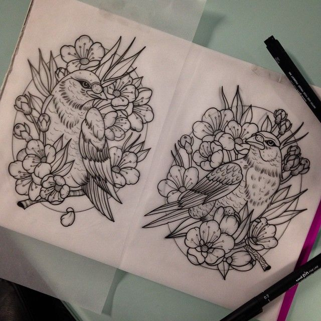 Drawn brds traditional His com TattooStage 1338 Pinterest