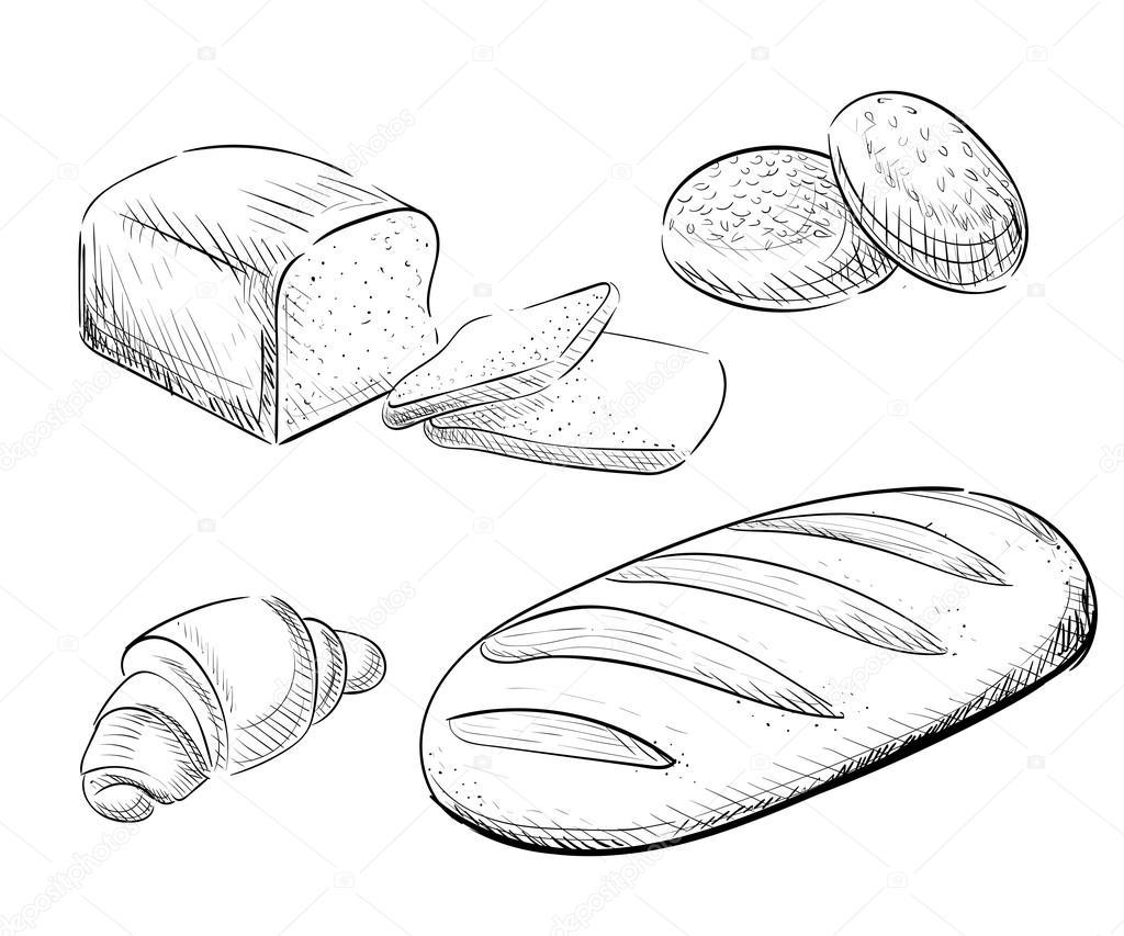 Drawn bread bakery Bakery drawn sketch decorative Hand