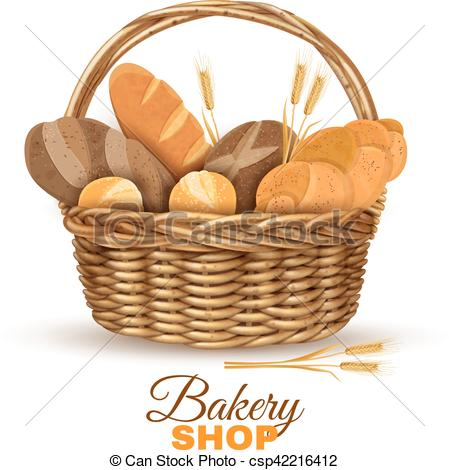 Bread clipart bakery Basket Vector Realistic Basket of