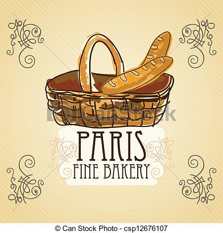 Bread clipart french pastry Bakery basket csp12676107 on Icons