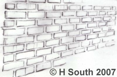 Drawn wall Perspective Wall bricks mortar in