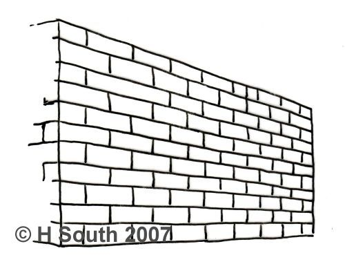 Drawn bulding  street scene Drawn a bricks Perspective Brick