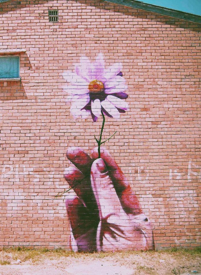 Drawn brick wall art Best art flower only painting