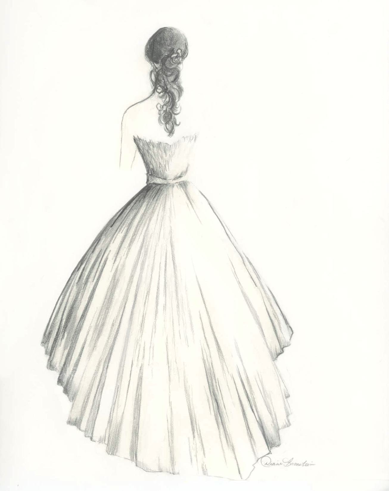 Drawn women big By dress Bride bride of