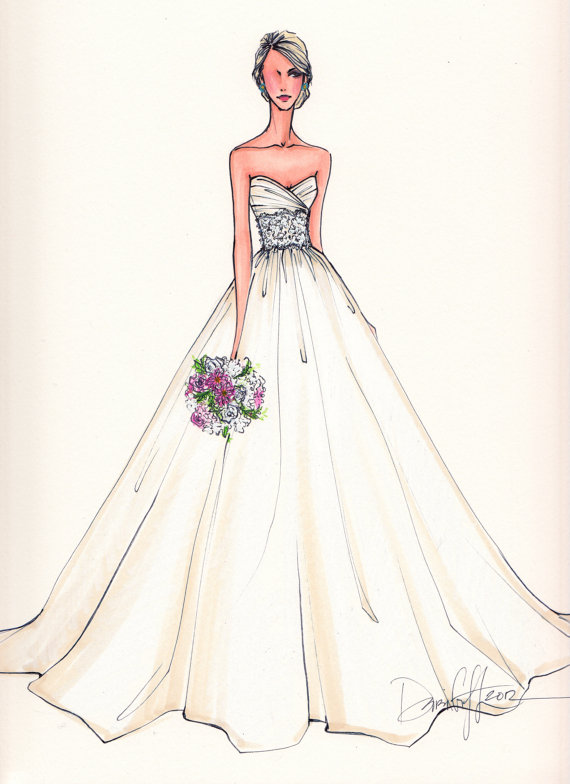 Drawn bride Wedding Runway draw 00 Gown