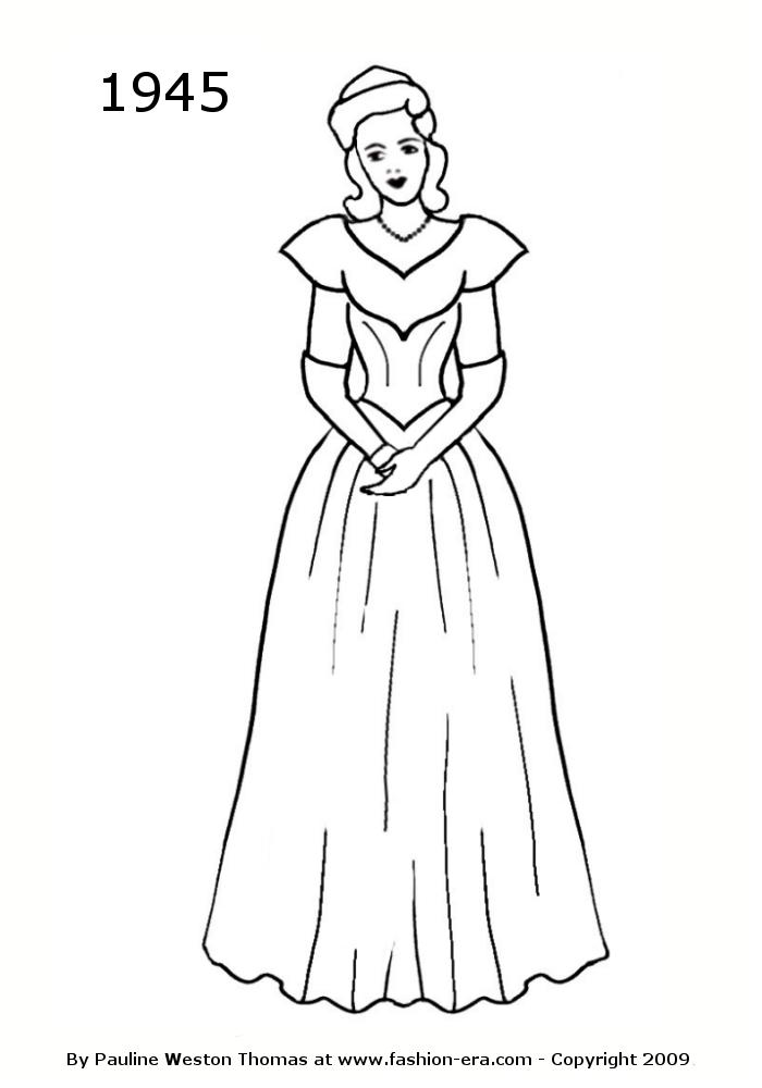 Drawn bride a line Silhouette Costume 1942 Drawings 1940s