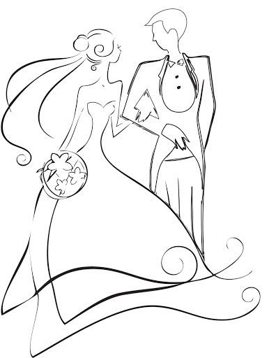 Drawn bride a line Clipart and and black collection