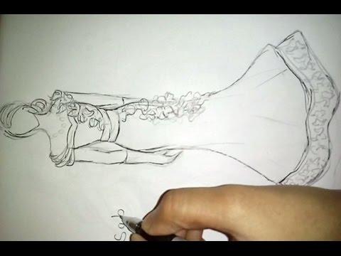 Drawn wedding dress figure drawing #15