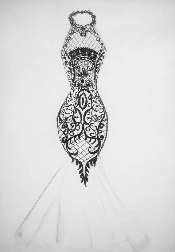 Drawn wedding dress modern design #7