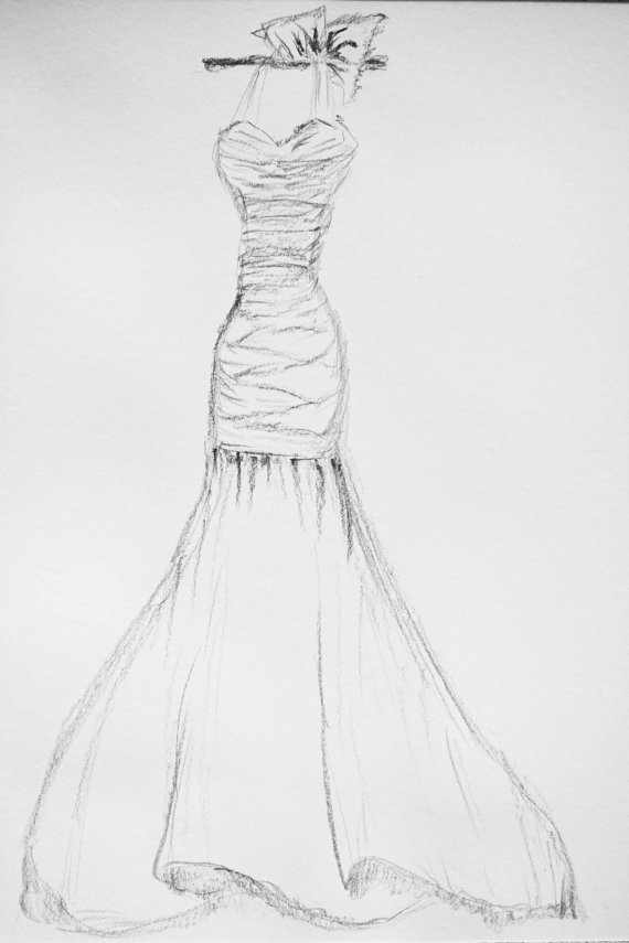 Drawn wedding dress pencil drawing #8