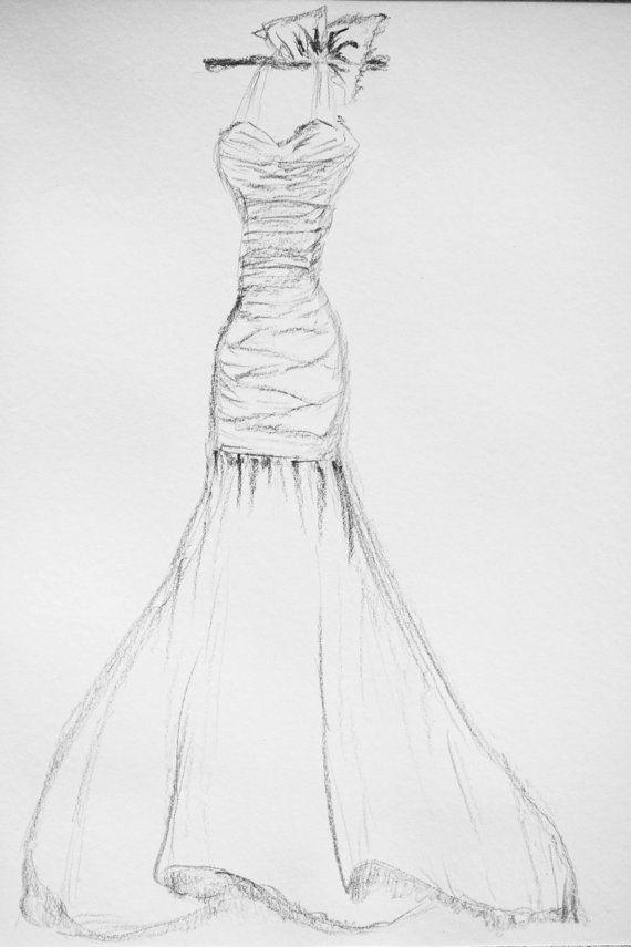 Drawn wedding dress pencil sketch #9